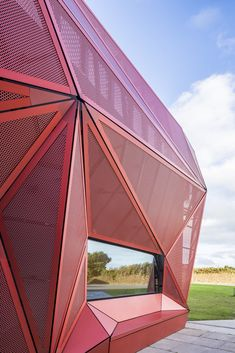 Bold edgy architecture is always inspiring! This faceted red sculptural facade belongs to Espace Culturel de La Hague, a music and cultural centre located in northwest France. Completed by Périphériques studio in Paris. Contemporary Stairs, Contemporary Garden, Contemporary Architecture, Contemporary Furniture, Contemporary Building, Kitchen Contemporary, Contemporary Wallpaper, Contemporary Chandelier, Rustic Contemporary