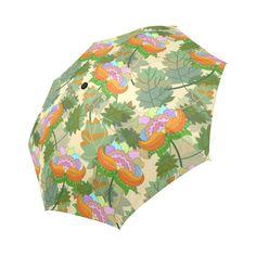 Pink Orange Floral Pattern Green Leaves Auto-Foldable Umbrella