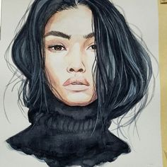 Painting of beautiful woman in black turtleneck