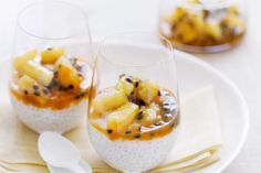 Coconut sago with passionfruit syrup