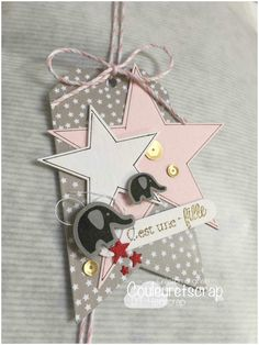 10 Gift Tags with Decorative corner cut outs made from plain white card