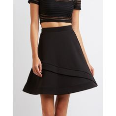 Charlotte Russe Full Tiered Skater Skirt ($27) ❤ liked on Polyvore featuring skirts, black, high-waisted midi skirts, flared skater skirt, midi flare skirt, flare skirt and asymmetrical skirt