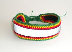 Reflector rasta bracelet for men and women, reflective design, safety reflector, rasta accessories, Ethiopian colors, red gold green, Bob Marley wristband, Jamaica bracelet, African anklet, rasta anklet, rasta bracelet, dancehall safety, dancehall style, by MultiKultiCrafts, €10.00