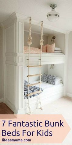 Bunk room with rope ladder. Bunk room with DIY rope ladder. The post 36 Ways To Configure A Shared Bedroom appeared first on Children's Room. Bunk Beds Built In, Modern Bunk Beds, Kids Bunk Beds, Built In Beds For Kids, Bunk Beds For Girls Room, Bed Ideas For Kids, Loft Beds, Bunk Bed Ideas For Small Rooms, Build In Bunk Beds