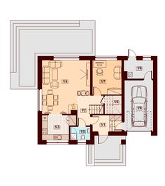 Rzut DN Lisandra XS CE Home Garden Design, Home And Garden, Malaga, Floor Plans, How To Plan, Interior, Case, Ideas, House With Garage