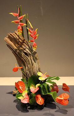 Anthurium and Heliconia arrangement - Philadelphia Flower Show Ikebana