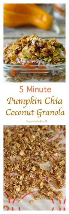 5 Minute Pumpkin Chia Coconut Granola Recipe. Homemade Chia Granola - in 5…
