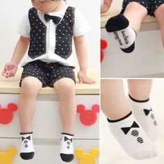 Stylish 0-2Y Kids Baby Boys Girls Socks Cotton Knitted Anti Slip Short Socks Breathable Socks