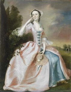 Circle of Francis Hayman, R.A. (Exeter 1708-1776 London) Portrait of a lady, full-length, seated, in a pink and blue dress in a landscape