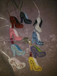Dainty Diva High Heel. Made out of felt and decorated  with sequins, beading, and/or stitchery.