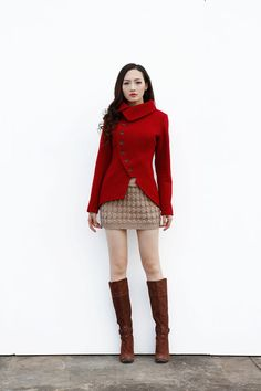 New Collection Wine Red Asymmetric Coat / Short di Sophiaclothing