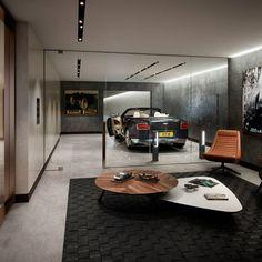 living-in-a-garage-inspirations-for-modern-establishment luxury living room-with-garage for sports cars - Wohnung - Einrichtung Garage Loft, Garage House, Man Cave Garage, Car Garage, Dream Garage, Design Garage, House Design, Garage Interior Design, Underground Garage