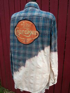 Blue & Gray Bleached Flannel Shirt California Dreamin