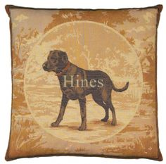 Black Labrador - Fine Woven Tapestry Cushion Fine Woven Tapestry Cushion finished with luxurious British velvet back Cushion made in England by Hines