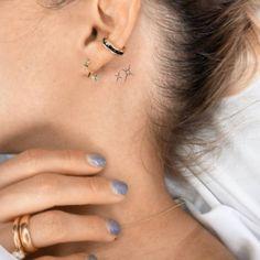 Behind Ear Tattoo Small, Back Ear Tattoo, Star Tattoos Behind Ear, Small Star Tattoos, Tiny Tattoos For Girls, Petite Tattoos, Red Tattoos, Dainty Tattoos, Mini Tattoos