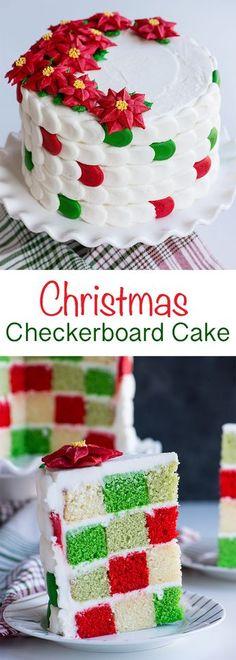 {VIDEO} How to make a festive checkerboard cake with buttercream poinsettia's! #christmas #cake #christmascake #iambaker