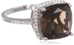 Sterling Silver Smoky Topaz and Created White Sapphire Ring, Size 7 - Fashion Jewelry
