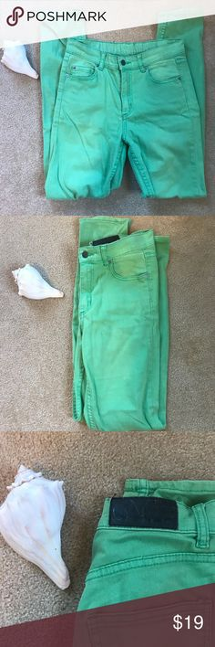 Cheap Monday green denim high waist jeans Cheap Monday green denim high waist jeans. These definitely have some wear to them, but they're in great condition. Size 28/32 Cheap Monday Jeans Skinny