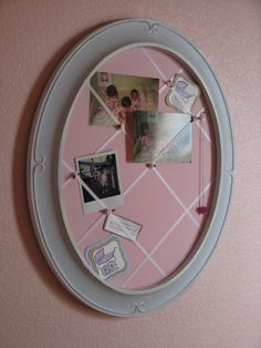 Found old frame at garage sale for $3.  Made into fabric memory board for a total cost of about $10.