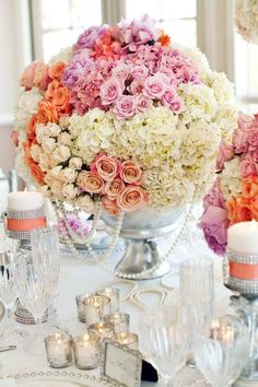 orange pink yellow centerpiece roses