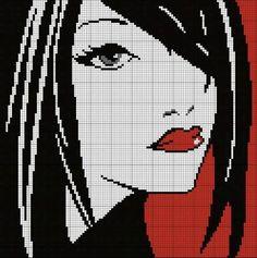 0 point de croix visage fille - cross stitch girl's face