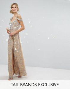 Maya Tall Cold Shoulder Allover Embellished Maxi Dress