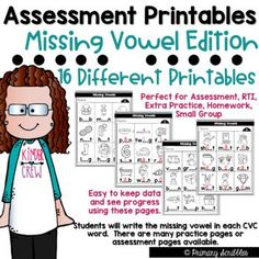 If you are like me, you need a way to assess your students or provide extra practice covering the skill of short vowel word families and missing vowels. I created this product to be able to assess my students quickly. I keep a data sheet on how they do each time I assess them with the same form.•This packet contains 16 different combinations of missing vowel (CVC words) assessments or printables along with answer keys. In total this product contains 37 pages. Teaching Sight Words, Dolch Sight Words, Sight Word Activities, Cvc Words, Literacy Stations, Literacy Centers, Motivational Activities, Grammar Skills, Math Challenge
