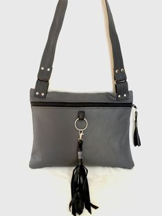 Shadow  Grey Leather Shoulder Bag  Handmade in Michigan