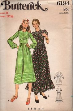Butterick 6194 Sewing Pattern 70s Prairie Peasant Dress Boho Hippie Style Retro Fashion Bust 32