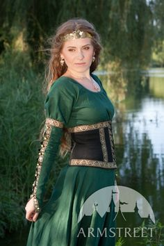 Medieval fantasy natural flax-linen dress with wide bodice type detachable belt for sale