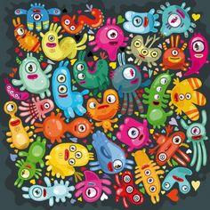 Des adorables petits monstres dans  ce tableau de Julien Canavezes • #reproductions #œuvres #dibond #plexiglass #cadre #artiste #décoration #maison #maisonobjet #maisondecoration #papapaper #streetstyle #dessin #artwork #illustration #illustrationart