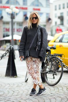 Swede Style: Stockholm Spring 2015 / lace skirt and oversized sweater