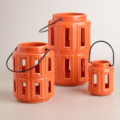 Orange Lamai Ceramic Lanterns | World Market