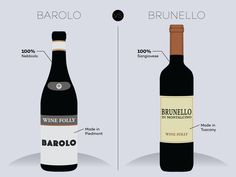 Here are the primary differences between the 2 Italian red wines: Barolo and Brunello di Montalcino. The first most important difference are the grapes...