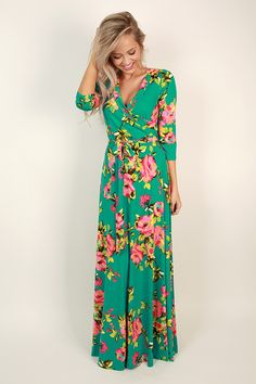 Fields Of Pretty Maxi Dress in Jade