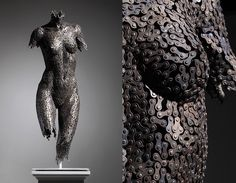 Incredible Anatomy Sculptures Made Entirely With Bicycle Chain Links