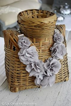 could DIY a necklace holder like this by gluing a small round basket to a square basket turned on its side