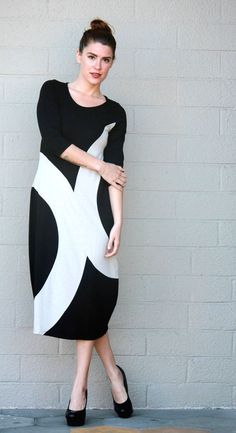 ALEMBIKA Color Block ABBIE DRESS w/Balloon Hem Size 1 2 3 4 5 6 BLACK/STONE #ALEMBIKA #Versatile