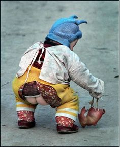 """Read about in a new book called """"How Eskimos Keep Their Babies Warm""""...the Chinese are able to have their children fully potty trained by using these crotchless pants for their babies. Before they are even two years old. A lot of Chinese families have potty trained kids between the ages of 12-18 months. Don't judge, it seems gross, but if you read more on it, it's incredibly interesting how this method works!! Weather and setting permitting, of course."""