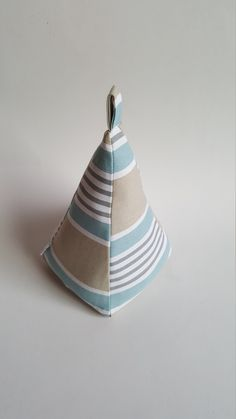 Excited to share the latest addition to my #etsy shop: Fabric Doorstop, Pyramid Shaped, Powder Blue Striped, Fabric Door Stop https://etsy.me/2wQfMXQ #housewares #homedecor #babyblue #pastelcolors #beige #tan #striped #giftidea #soft