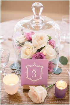 Flowers in bell jar for centerpiece