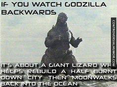 Godzilla Backwards - http://controversialhumor.com/godzilla-backwards/ #FunnyPictures, #Godzilla, #Humor