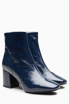 Buy Navy Leather Block Heel Ankle Boots from the Next UK online shop