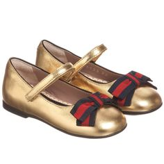 Gucci - Girls Metallic Gold Shoes | Childrensalon