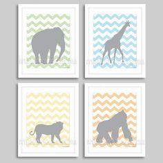 Baby boy nursery decor, kids wall art, digital download, safari animals chevron, DIY printable nursery print, PDF file, elephant, giraffe, lion,