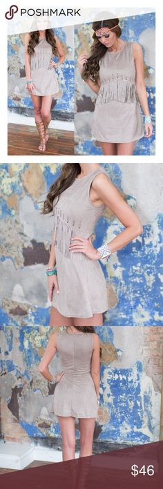 Stone (or brown) fringe suede soft dress MODEL IS WEARING THE EXACT PRODUCT    I own an online boutique called Danalli, most of what we sell are brands/items you'll find at stores such as Nasty Gal, Urban Outfitters, Nordstrom, ASOS, PacSun, etc. just at more affordable prices   Any questions? Don't hesitate to ask  Dresses Mini