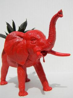 Elephant Planter Rich Red Great Dorm, Nursery, Decor or Baby Shower Gift Ready to Plant. $14.50, via Etsy.  RTR
