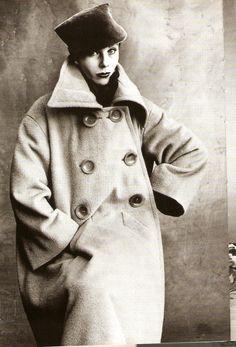 "Coat by Italian fashion designer Elsa Schiaparelli (1890-1973)  photographed (1950) by American photographer Irving Penn for Francois Baudot's ""Elsa Schiaparelli."" via Linnea N on flickr"
