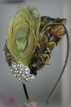 Green Peacock Rhinestone Feather Headband Feather by BrassLotus