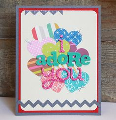 LOVE this card, and it's a great way to use scraps and left over letters.